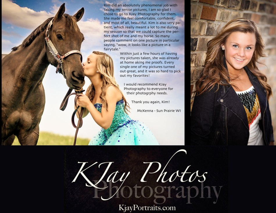 KJay Photographer Reviews.  McKenna Sun Prairie Senior writes